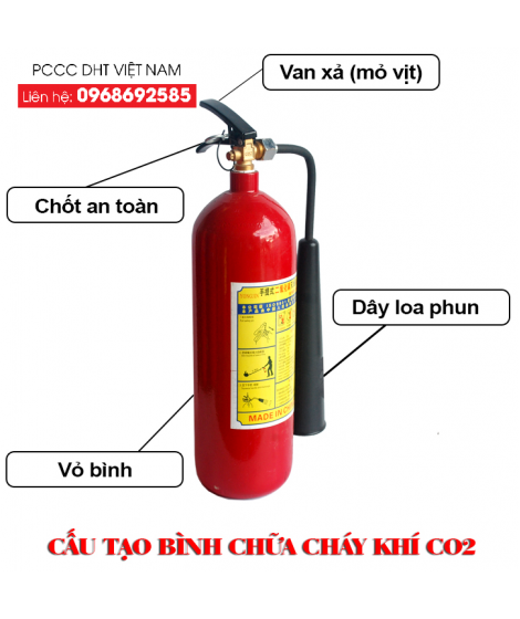 Bình chữa cháy CO2 - Thiết bị chữa cháy tại cụm khu công nghiệp BỐ HẠ