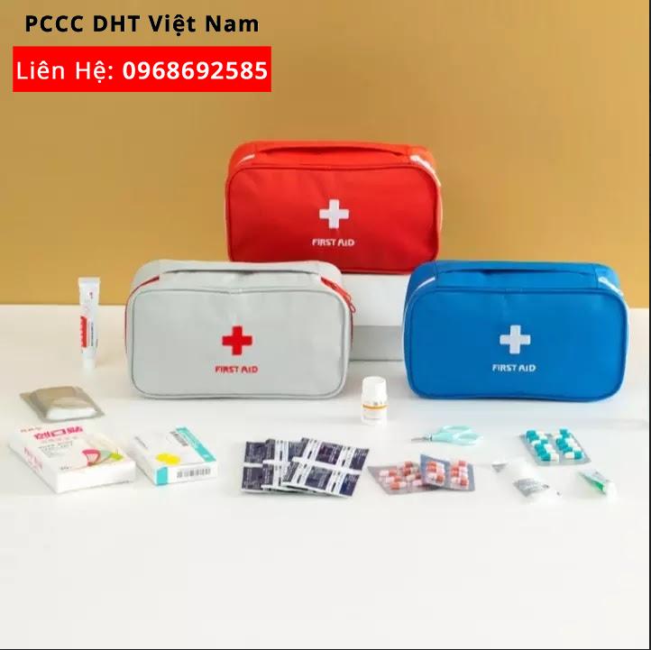 Đơn vị cung cấp túi cứu thương loại A tại KCN SƠN LÔI trang bị đầy đủ thuốc men, dụng cụ bên trong.